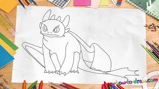 How to draw Toothless Dragon - Easy step-by-step drawing lessons for kids