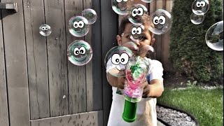 kids playing and having fun with bubbles