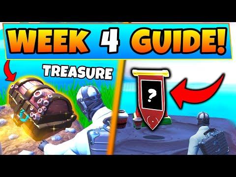 Fortnite WEEK 4 CHALLENGES! – Search Buried Treasure, Secret Banner (Battle Royale Season 8 Guide) thumbnail