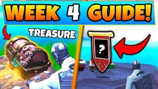 Fortnite WEEK 4 CHALLENGES! – Search Buried Treasure, Secret Banner (Battle Royale Season 8 Guide)