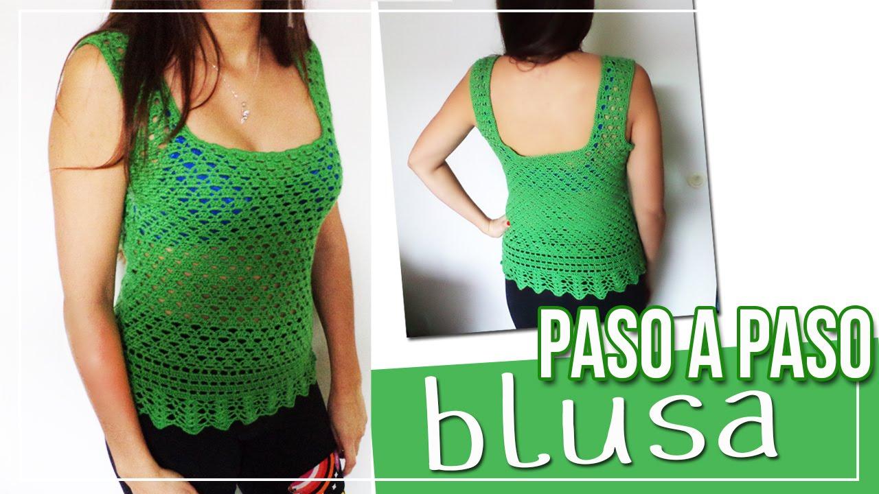 19cc1a873 Blusa tejida en Crochet - Tutorial paso a paso - YouTube