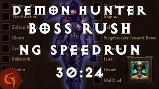 Diablo 3 Demon Hunter Boss Rush NG World Record Speedrun 30:24