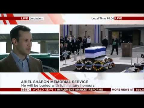 Elhanan Miller speaks to the BBC at Ariel Sharon's funeral