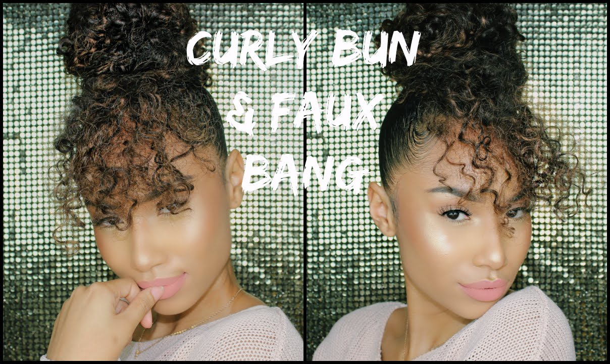 Faux Curly Bun + Faux Bang