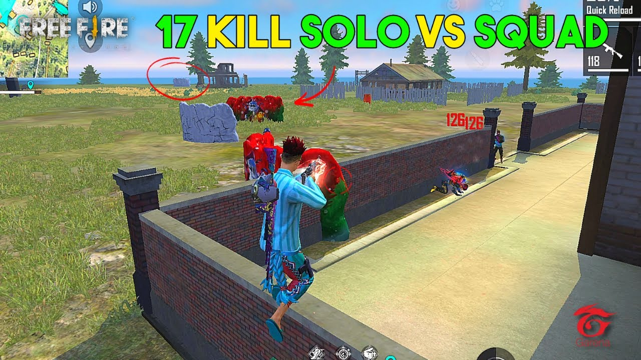 Op HeadShot 17 Kill Solo vs Squad OverPower Gameplay - Garena Free Fire