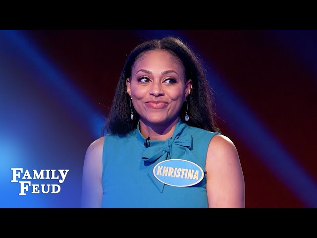 Can Khristina pull off a huge comeback?! | Family Feud