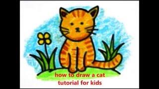 how to draw a cat (cara menggambar kucing untuk anak-anak)