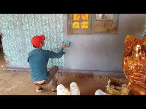 Sơn thử bộ cọ lăn hoa văn lên tường xi măng