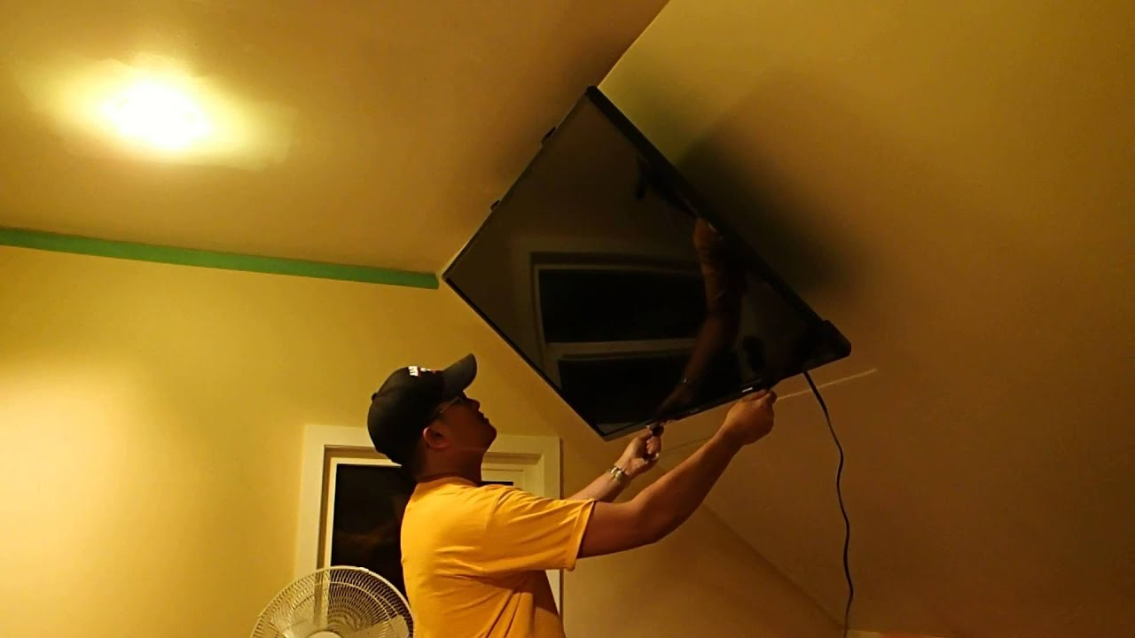 Retractable Angled Ceiling TV Mount   YouTube