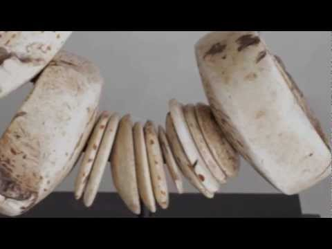 Papua New Guinea Sepik Art, Adornments Ceremonial Kina Necklace, Bone Dagger Video 3