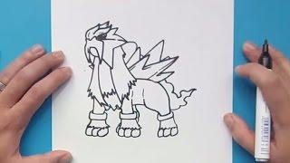 Como dibujar a Entei paso a paso - Pokemon | How to draw Entei - Pokemon