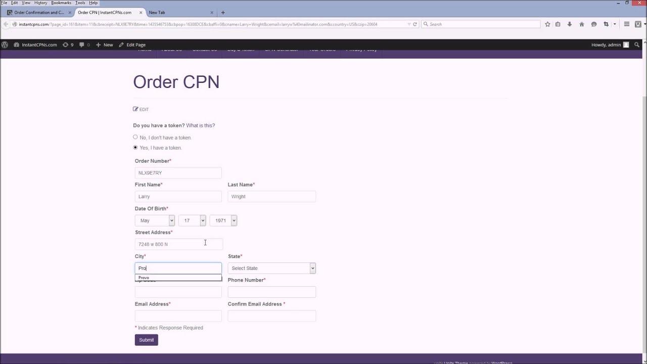 Validated cpn numbers