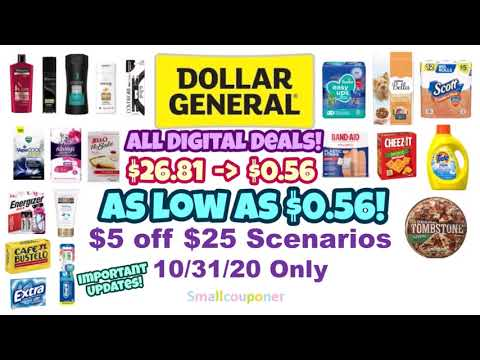 Dollar General $5 Off $25 Scenarios 10/31/20! All Digital Deals!