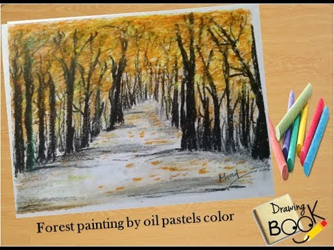 Autumn Forest painting by oil pastels color.