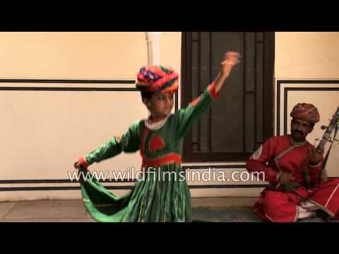 Little Rajasthani boy dances on Chikara tunes - Samode Palace, India