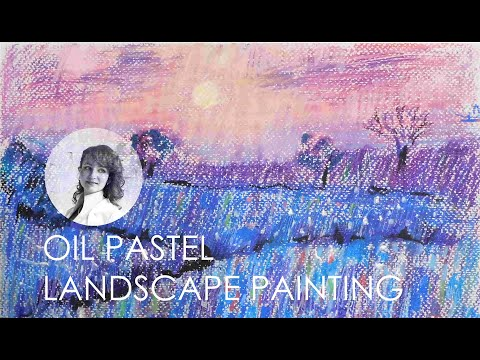 How to Paint a Landscape  with Oil Pastels –  Landscape Painting