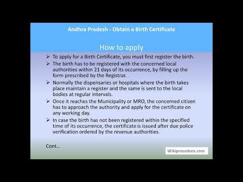Andhra Pradesh - Obtain a Birth Certificate