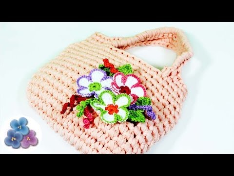 Como hacer un bolso de trapillo con flores de crochet xxl - Como hacer flores de ganchillo ...