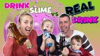 DRINK SLIME vs Real Drink!! Bebida Real Vs Bebida de SLIME!! Enredos en Familia