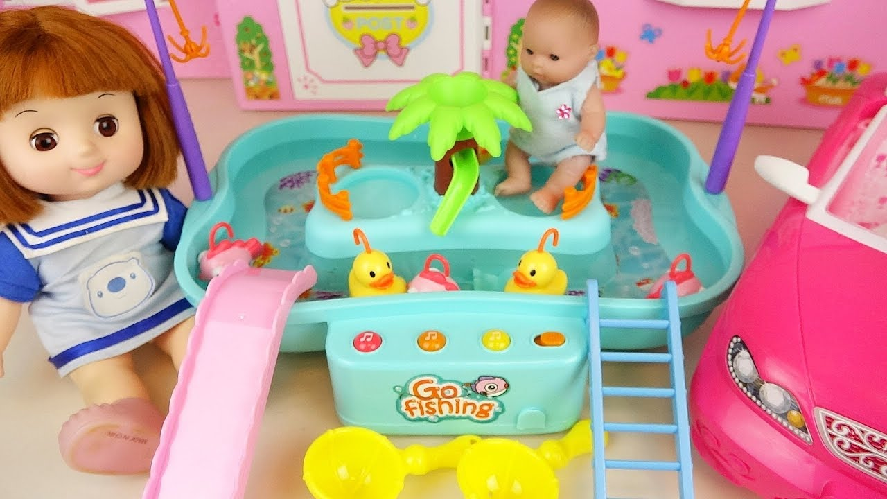 Baby doll go fishing fish play baby Doli house