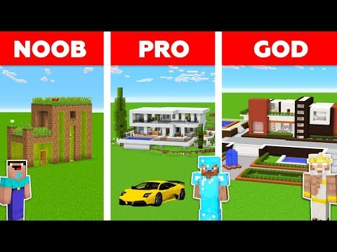 Minecraft Battle: NOOB vs PRO vs GOD: MODERN HOUSE in MINECR