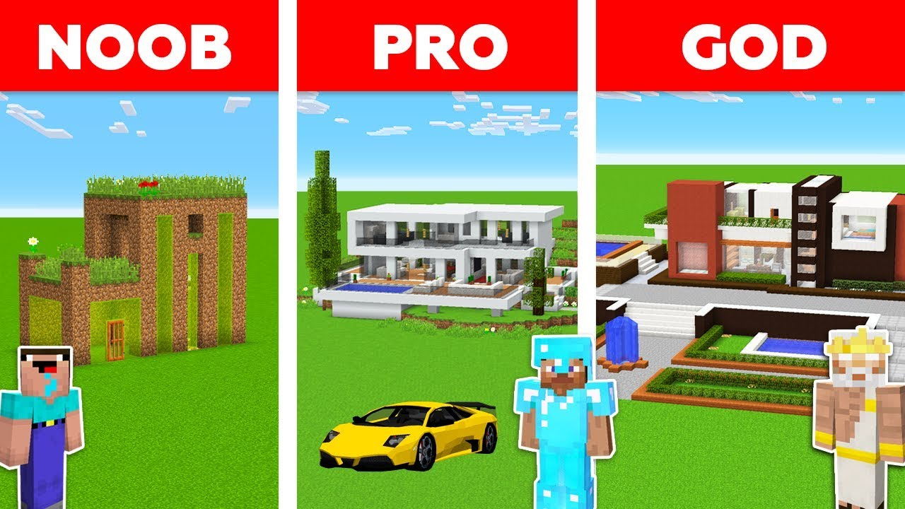 Minecraft Battle: NOOB vs PRO vs GOD: MODERN HOUSE in MINECRAFT / Animation thumbnail