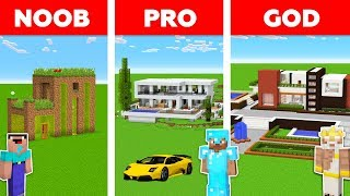 Minecraft Battle: NOOB vs PRO vs GOD: MODERN HOUSE in MINECRAFT / Animation