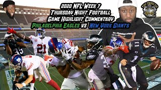 2020 NFL Week 7 TNF Game Highlight Commentary | PHI vs NYG | Chiseled Adonis