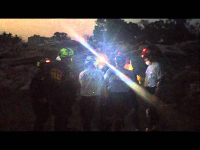 Disaster City, recreating Joplin 5/24/12 night time exercise E/T Lights as personnel identifiers