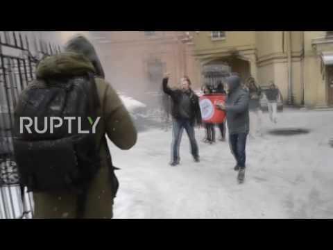 Russia: 'Other Russia' members hurl animal bones and smoke bombs at Ukrainian Consulate