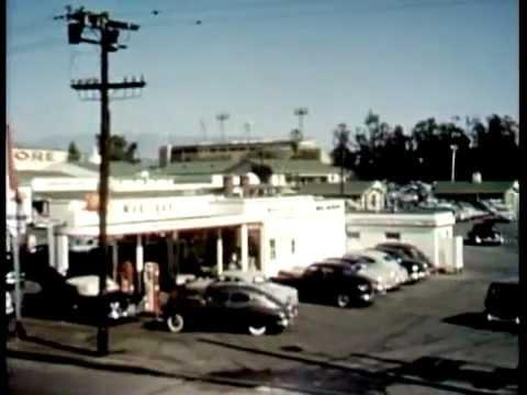 "Fairfax Ave, Farmers & the Gilmore Stadium. ""Vintage Los Angeles""."