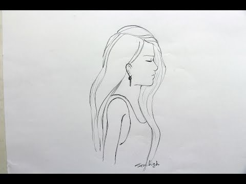How to draw a girl with beautiful hair | Pencil Sketch thumbnail