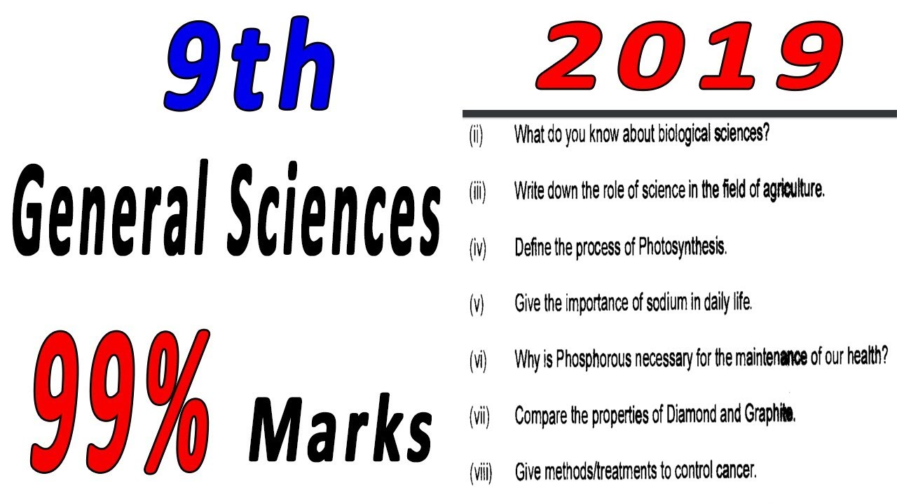 9th class General Science guess paper 2019