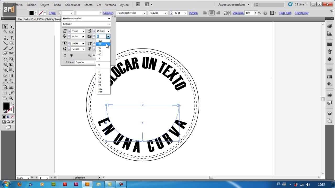 Illustrator Escribir Sobre Curva Texto En Trazado Youtube