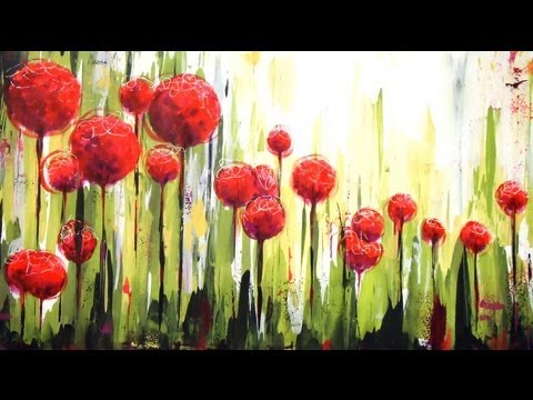 Como pintar con acr licos cuadro flores en el jardin - Jardines con rosas ...