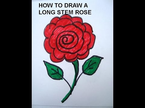 learn to draw for kids draw a long stem rose simple drawing lessons for children - Simple Drawing For Children