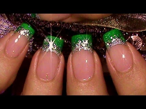 easy green glitter glitz french manicure nail art tutorial