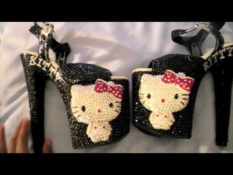 1acfe95d4 Unique'z] 3D Crystallized Hello Kitty Heels (Black/Red) - YouTube