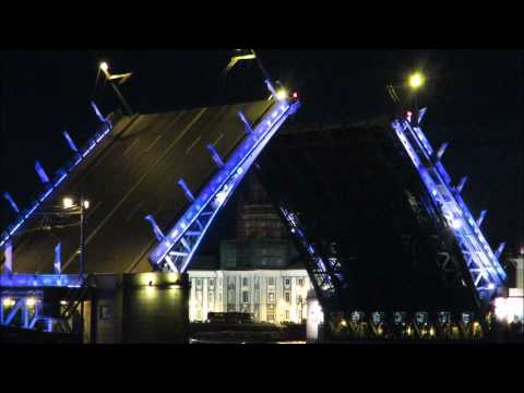 Opening of Palace bridge over the Neva River in Saint Petersburg , Russia