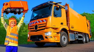 Kids Pretend Play with Garbage Trucks | Learn to Clean Up Stories with Toys