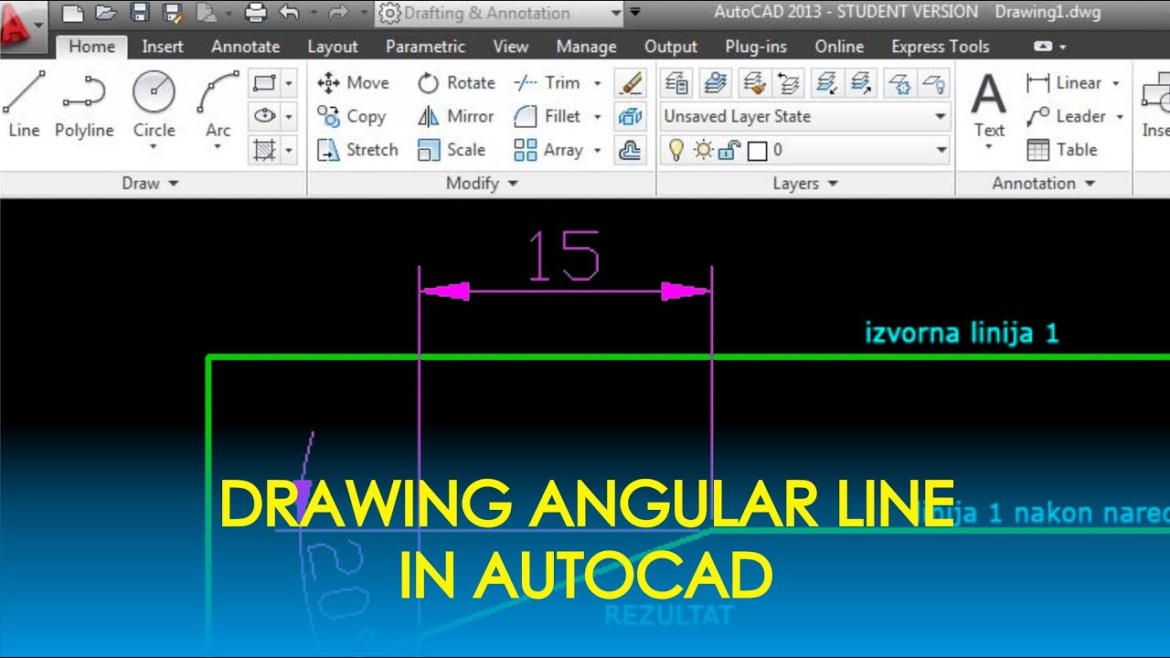 Drawing Lines With Angles In Autocad : Autocad basic tutorial how to draw angular line youtube