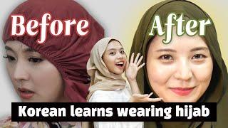 Korean learns how to wear hijab (Feat. Fahiera)