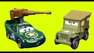 Disney Cars Machine Gun Army Car McQueen Destroys Joker explosive Mater Sally on Vacation Sarge