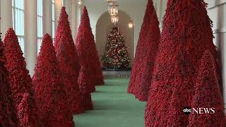 white house red trees