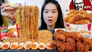SPICY INDOMIE! KFC Szechuan Hot & Crispy Fried Chicken | Ramen Mukbang w/ Asmr Crunchy Eating Sounds