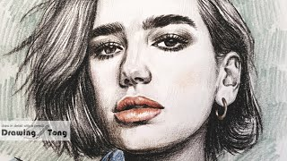 Dua Lipa colored pencil drawin…