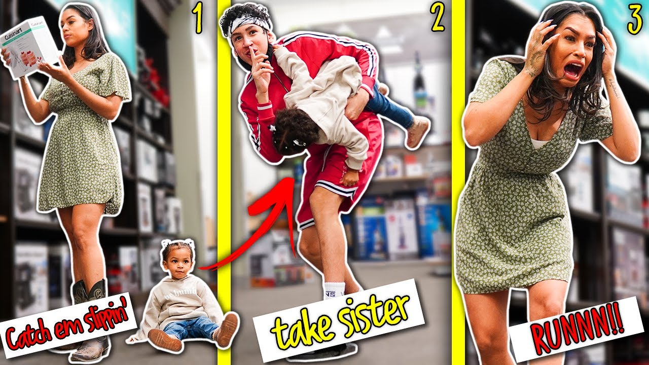 I *STOLE* MY LITTLE SISTER in THE MALL! PRANK on my MOM!! 😨