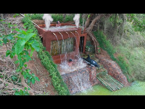 30 days of build the most beautiful underground luxury resort house ,waterfall pool with dolphin