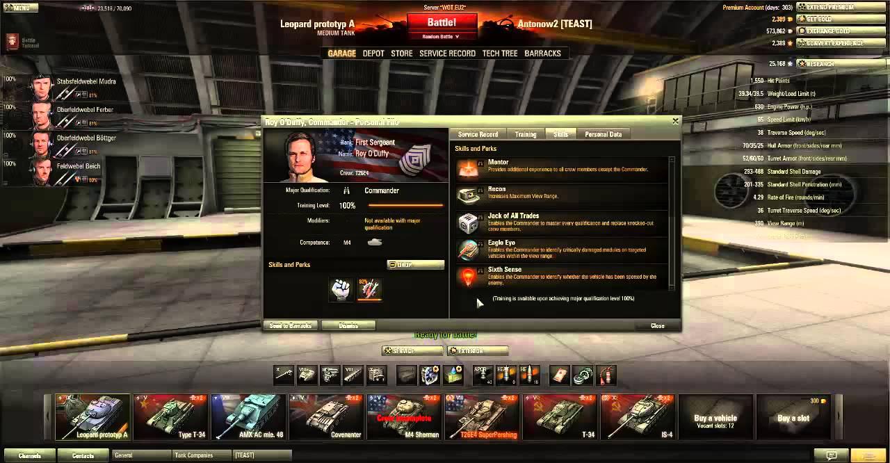 World of Tanks Tutorial #8 - Crew Skills & Perks, Crew