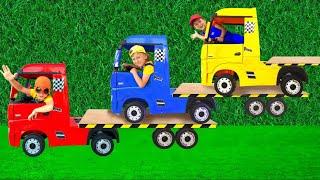 سينيا تركب عربة جر وتبيع سيارات للأطفال
